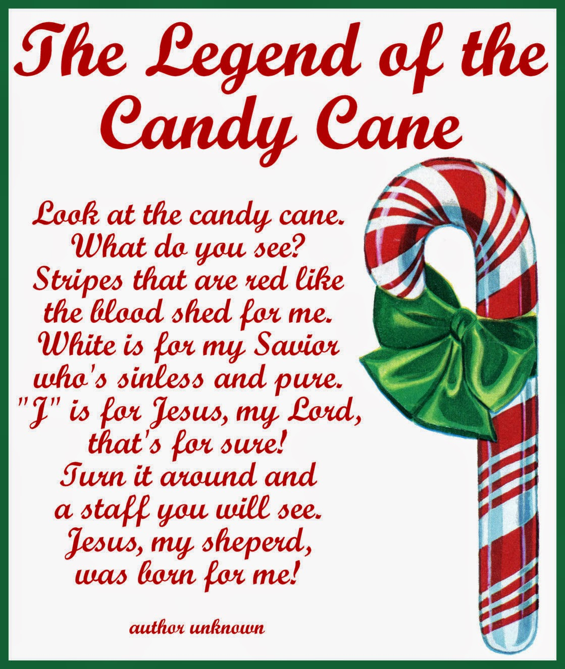 It is a picture of Canny Candy Cane Poem Printable